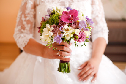 Lovely bride with nice bouquet