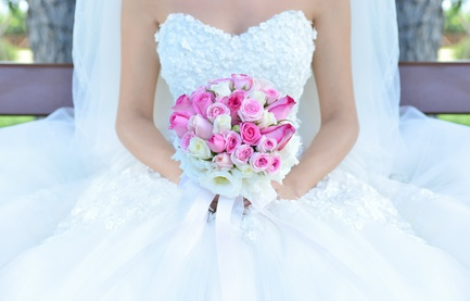 Bride and flowers.